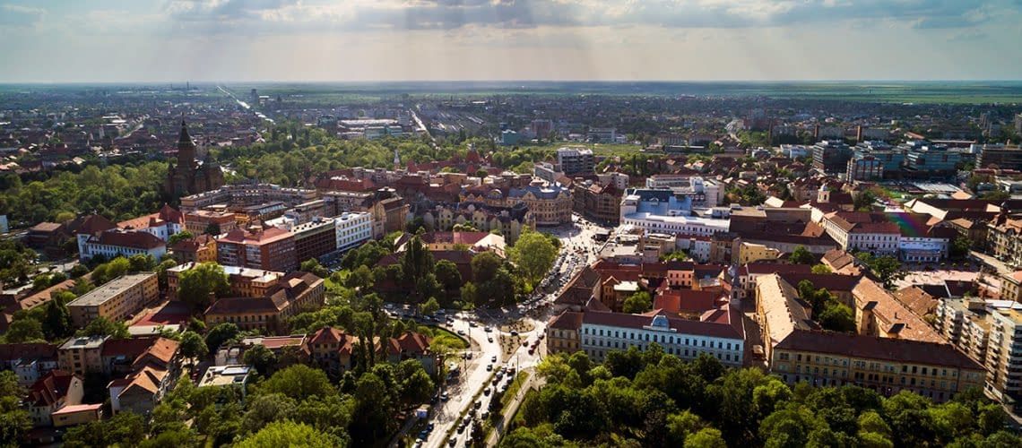 Aerial view in a beautifu cloudy summer day above Timisoara's hi
